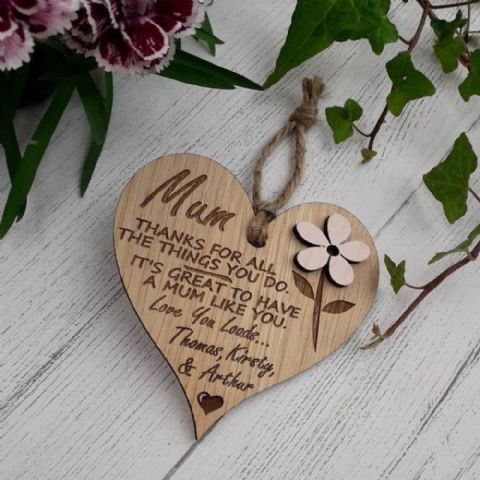 Personalised Wooden Heart Thanks  For All You Do Mum, Mummy, Nanny, Nanna  Gift